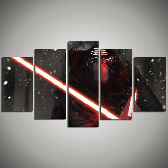 Kylo Ren Star Wars Kids room print - The Force Awakens Hanging Framed Art - Movie Poster canvas painting - large art print 5 panel canvas…