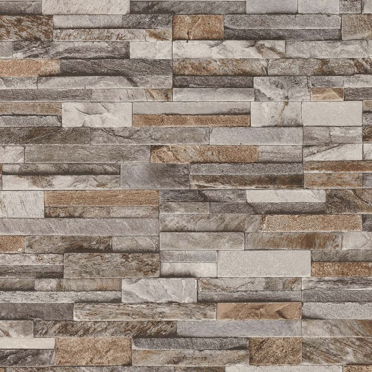 Brick effect wallpaper featuring a slate stone style. Perfect addition to any sort of room to gain character and personality. Lovely mix of brown, grey and beige, sits well on thick textured vinyl which creates a modern realistic atmosphere.   eBay!