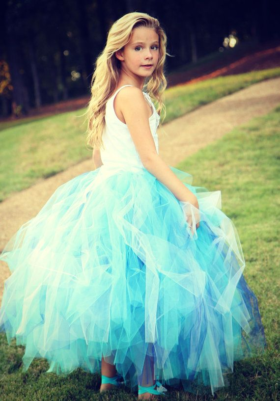 Long Tutu Skirt - Aqua Blue Tutu - Toddler Long TUTU - Frozen Tutu - Wedding - Ballet - Photo Shoot - Flower Girl Tutu - Bridesmaid on Etsy, $35.00