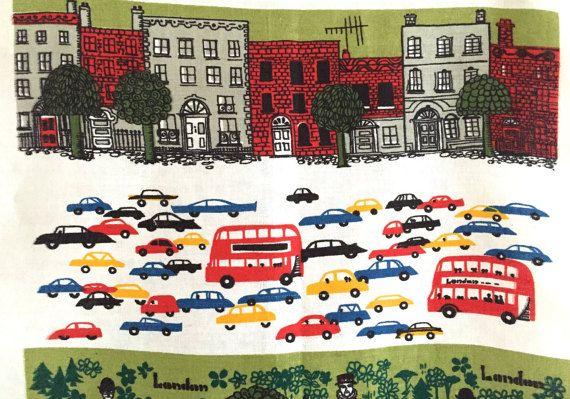 Vintage LONDON Souvenir Towel Lamont Screen Print Double Decker Bus