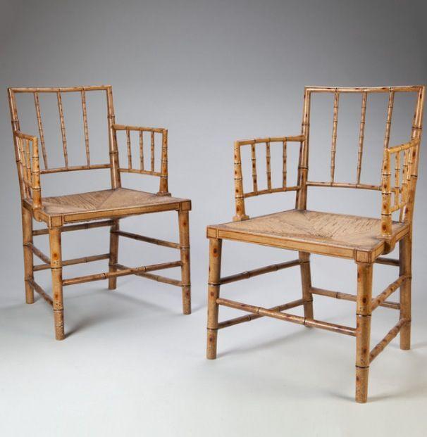 Tarquin Bilgen an antique dealer I love. A pair of simulated bamboo chairs