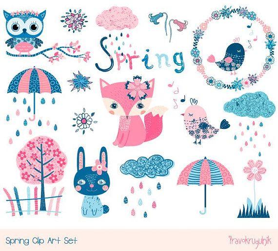 Cute Spring Animal Clipart Set Kawaii Spring Clip Art Blue Etsy Spring Clipart Animal Clipart Spring Animals