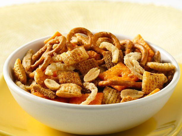 Steakhouse Chex Mix (Chex cereals, Cheez-its, pretzels, French-fried onions, peanuts with the addition of steak sauce to the seasonings)