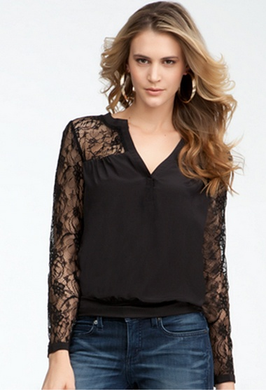 Deep V Lace Contrast Silk Top #bebe #summer #musthaves