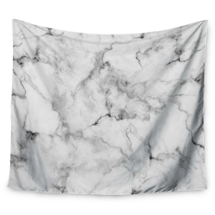 "Gray White Kess Original White Marble Wall Tapestry (51""x60"") - Kess InHouse, Grey"