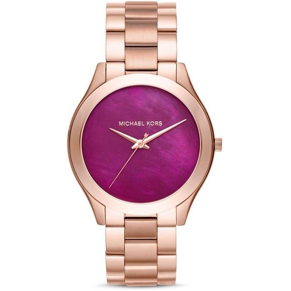 Michael Kors Slim Runway Bracelet Watch, 42mm ($210) ❤ liked on Polyvore featuring jewelry, watches, purple, michael kors watches, bracelet watch, watch bracelet, purple jewelry and mother of pearl watches