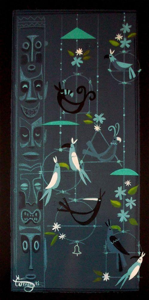 EL GATO GOMEZ PAINTING RETRO MID CENTURY VINTAGE TIKI ROOM BIRDS IDOL POLYNESIAN in Paintings | eBay