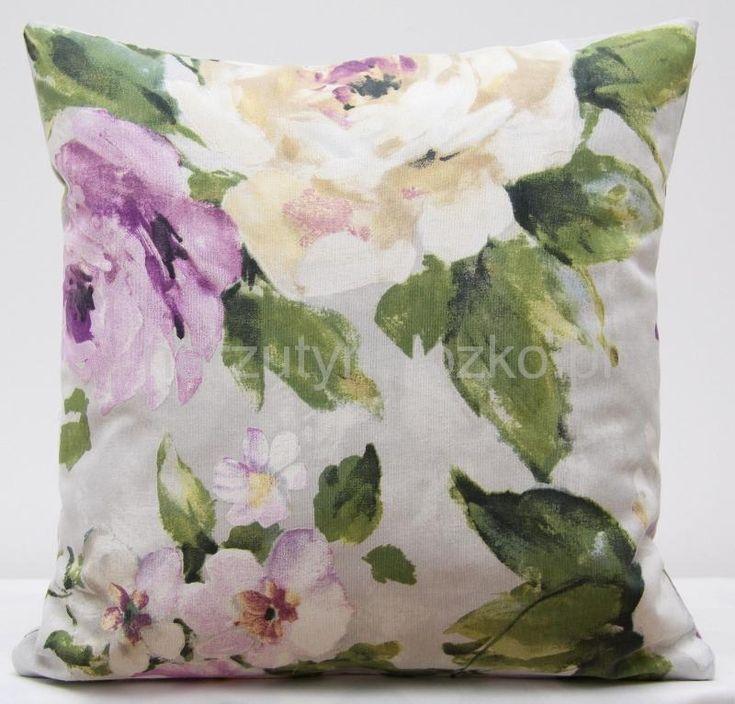 Poszewka na poduszkę w kolorze szarym w zielono fioletowe kwiaty