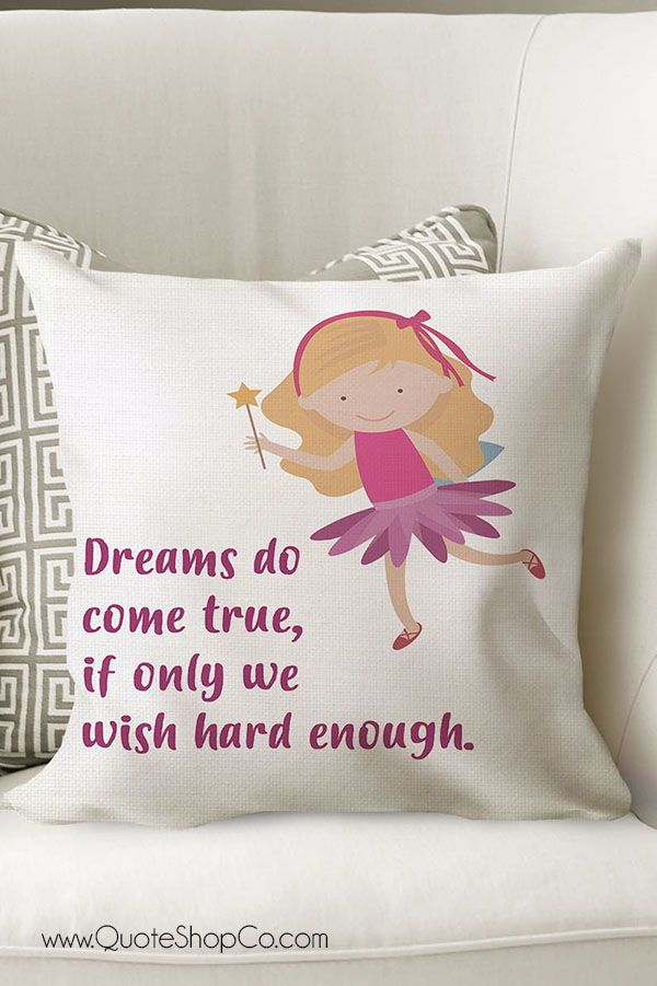 Peter Pan Dreams Quote Decorative Cushion For Baby Girls Nursery