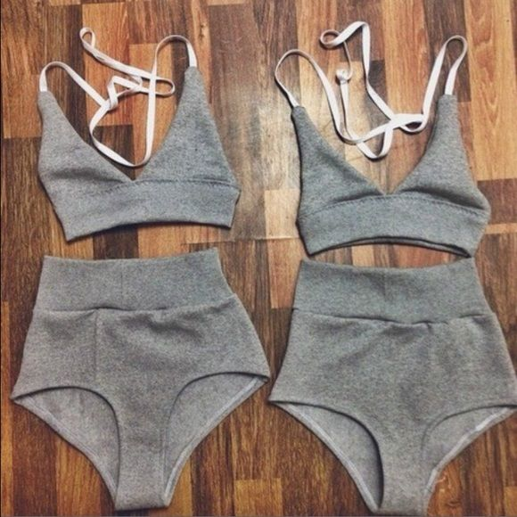 •Solid Mid Waist Bikini• New New bikini. Only one is available. Size small. Super cute and comfortable. It's a bathing suit, but the material is like sweatshirt material so it can be worn for something else. Might just keep it if it doesn't sell fast Brandy Melville Swim Bikinis