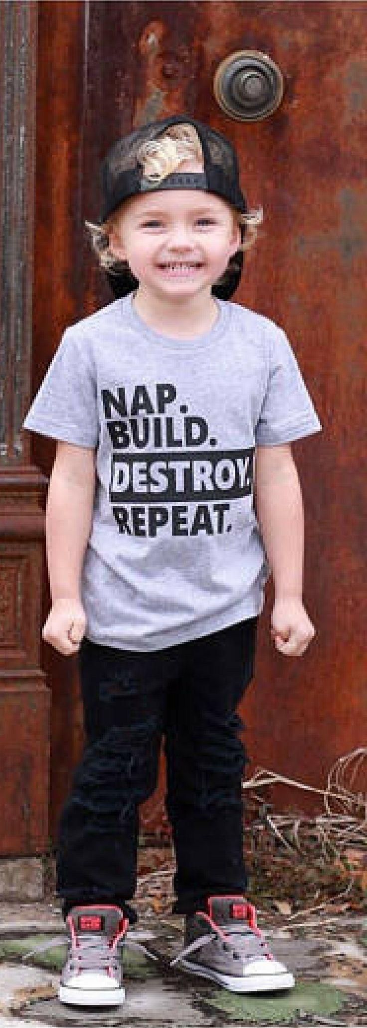 Nap Build Destroy Repeat, Mama's Boy Shirt, Baby Shirt, Toddler Shirt, Shirt for Boys, Funny Baby, Cute Boy Shirt, Trendy Boy, Boys Shirt, Kids Fashion, Kids Outfits #ad #kidoutfits