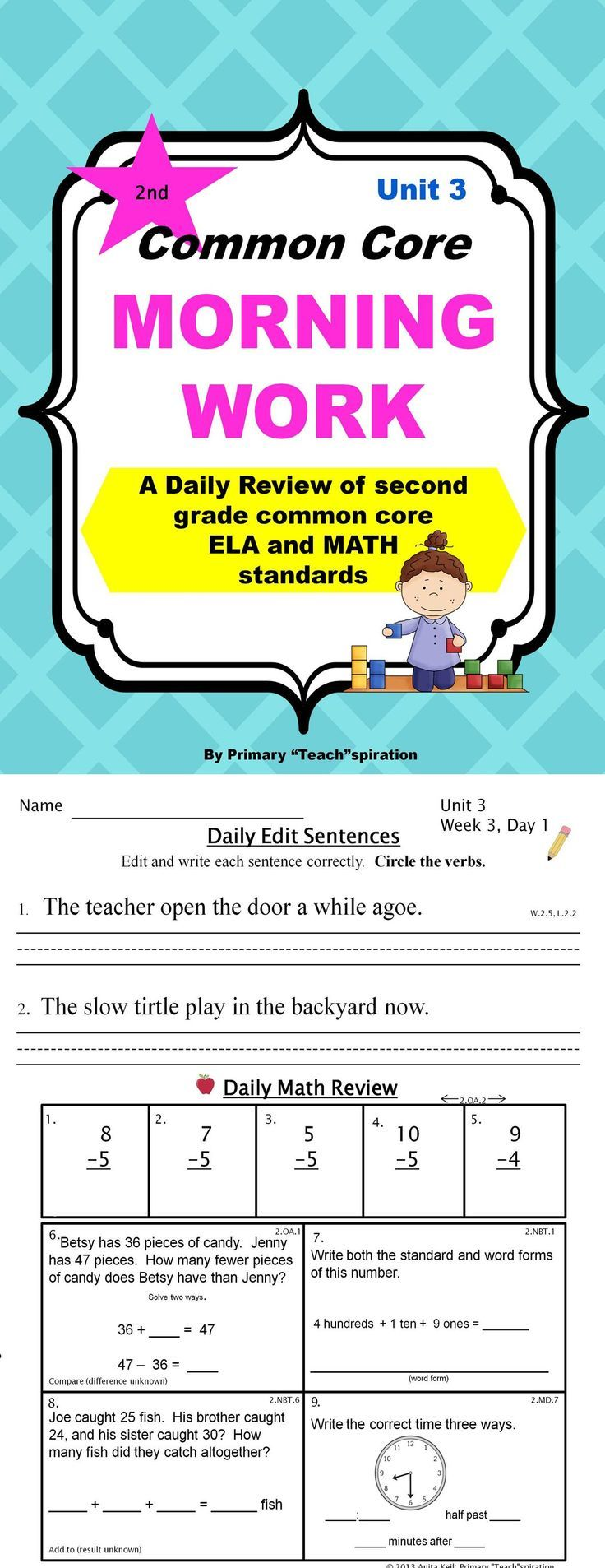 2nd Grade Morning Work   2nd Grade Daily Spiral Review (Unit 3)   Common core morning work. Morning work. Math review