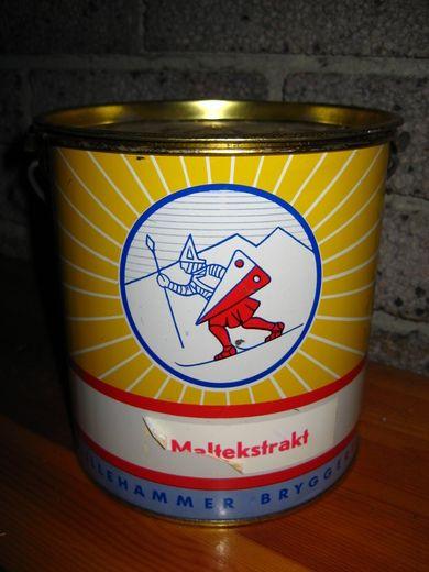 Spann med lokk fra Lillehammer Bryggeri. MALTEKSTRAKT, 60-70 tallet. SPA7 467