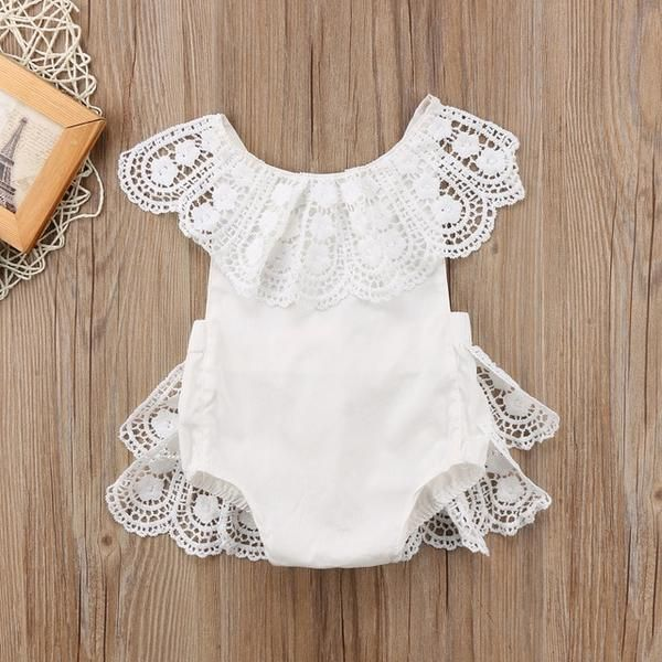 New girl/'s boutique baby//toddler Floral Ruffle Lace Romper