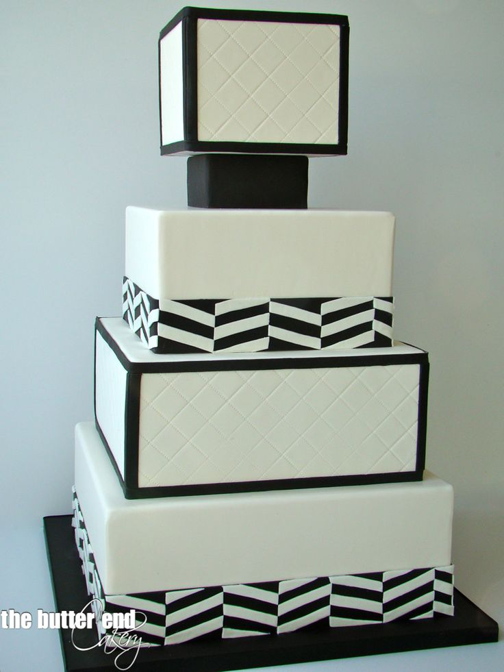 Modern black and white square wedding cake by The Butter End Cakery ...