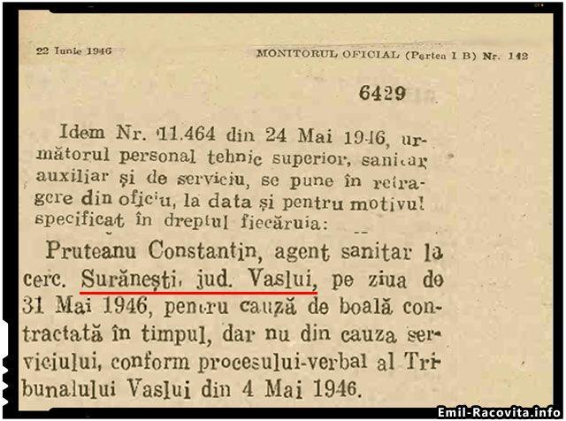 Pe 22 iunie 1946 un agent sanitar era retras din serviciu printr-o decizi publicata in Monitorul Oficial