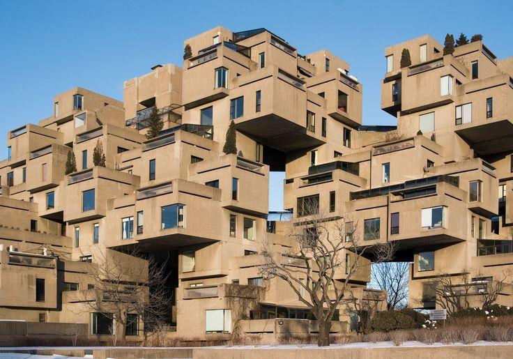 Habitat-67, Montréal, 1960-1970, Moshe Safdie, architecte, Montréal, David, Barott, Boulva, architectes, Montréal (monument historique cité par la Ville de Montréal en 2007, classé par le Gouvernement du Québec en 2009 dans le cadre de la Loi sur les biens culturels du Québec).
