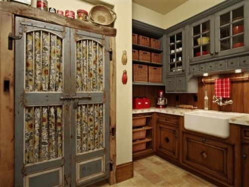 French country pantry doors this could be done in a very for Country kitchen pantry ideas