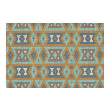 Teal Turquoise Orange Brown Eclectic Ethnic Look Placemat - pattern sample design template diy cyo customize