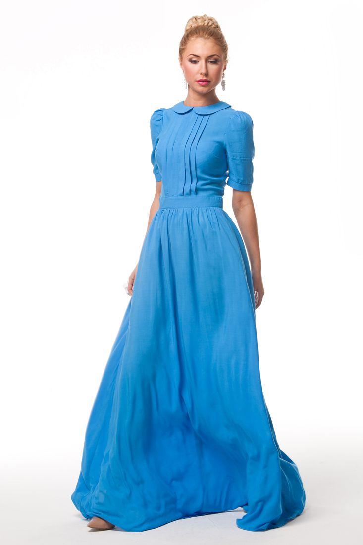 0812 Платье синее штапель на груди складки круглый воротник в пол