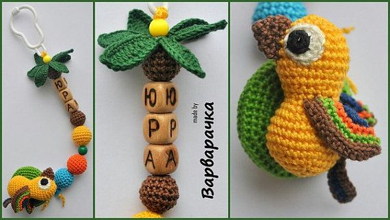 soother clip Tropics by ForYourHappyBaby on Etsy