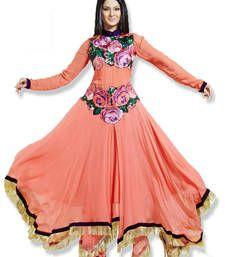 Buy Peach Colour Faux Georgette Anarkali Salwar Kameez By Fabfiza anarkali-salwar-kameez online