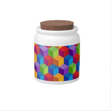 Rainbow Colorful Block Cube Pattern Candy Jar - kitchen gifts diy ideas decor special unique individual customized