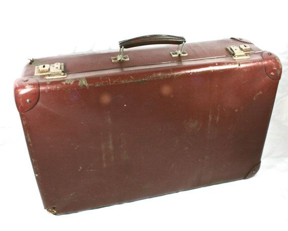 Small Children Suitcase Old Brown Suitcase by VerifiedVintageNL