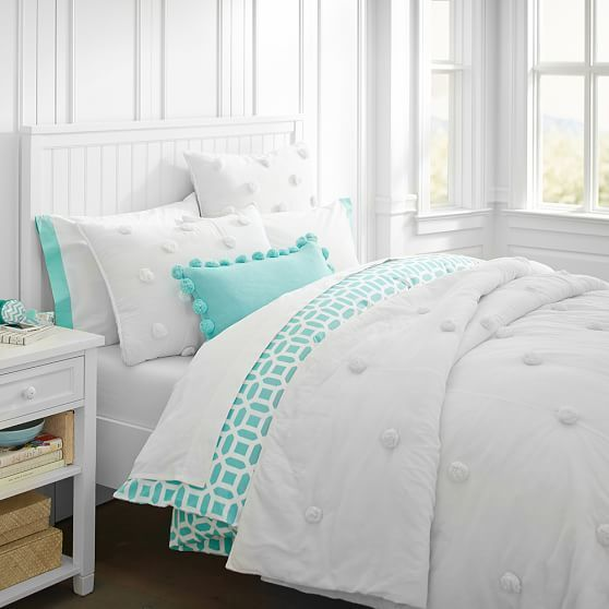 pottery barn teen crinkle puff quilt fullqueen white