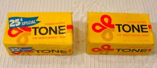 2-Vintage-Tone-Soap-Bars-Full-Size-25-Cent-Special-Cocoa-Butter-Tone-Soap