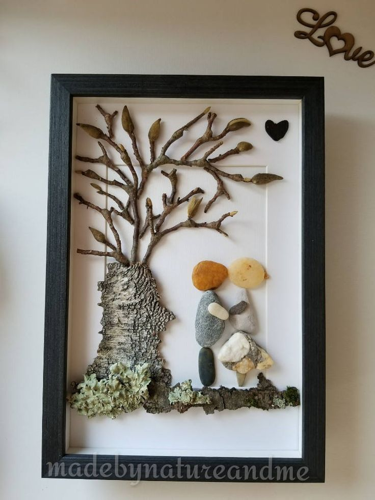 Pebble art, loving couple natural art, unique engage gift, birch tree bark art, natural framed gift, rocks couple art by madebynatureandme on Etsy
