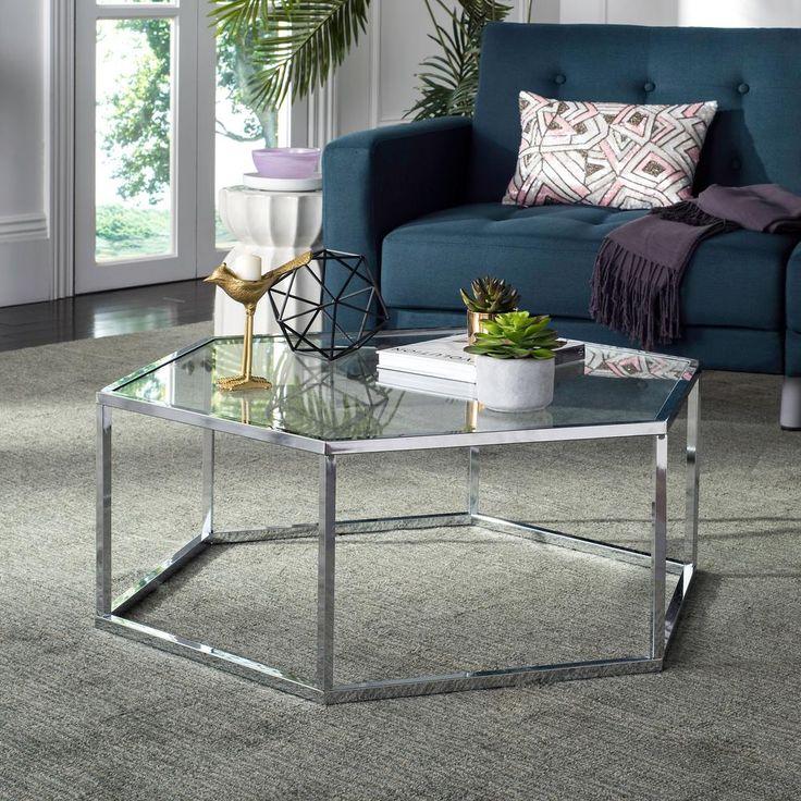 Safavieh Eliana Glass/Chrome Coffee Table Hexagon coffee