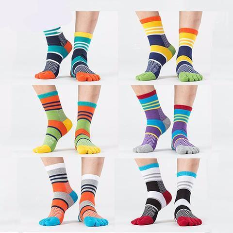 Crazy Funky Striped Dress Toe Socks (6 colors)