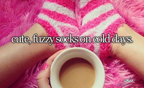 Cute, fuzzy socks on cold days