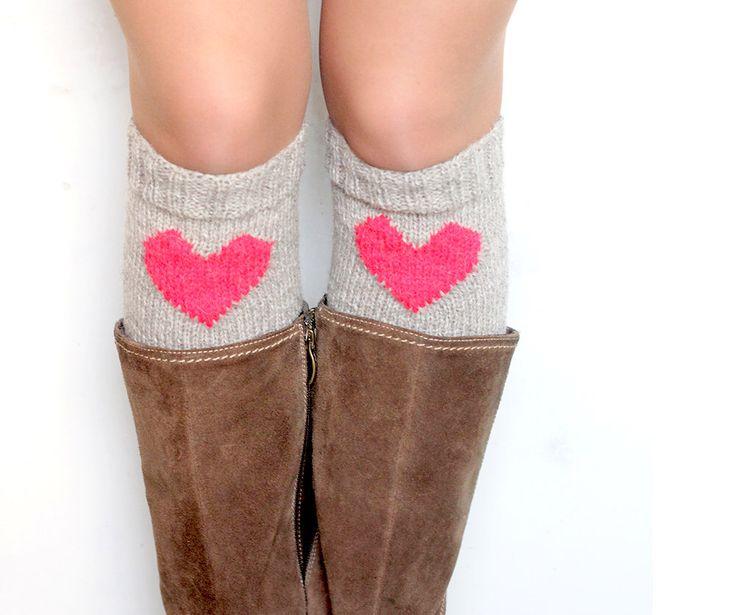 Heart boot cuffs. Grey wool Valentine leg warmer, knee high by Woolsome on Etsy https://www.etsy.com/listing/176572061/heart-boot-cuffs-grey-wool-valentine-leg
