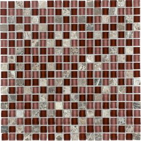 Elida Ceramica Cherry Stone Glass Mosaic Square Indoor/Outdoor Wall Tile (Common: 12-in x 12-in; Actual: 11.75-in x 11.75-in)