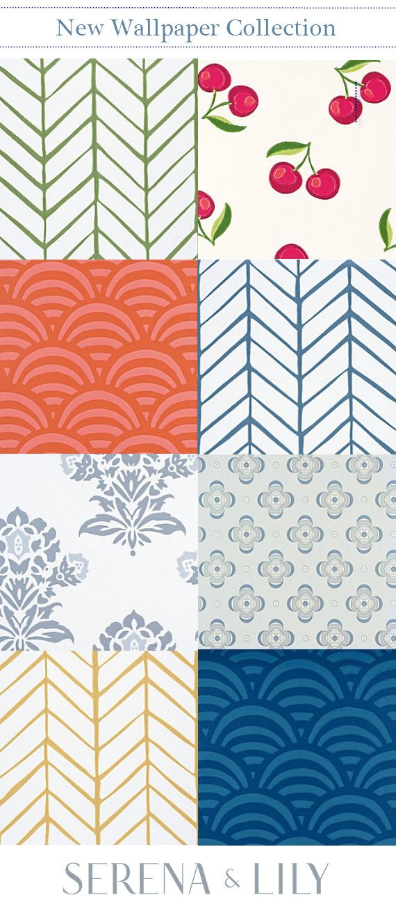 Serena & Lily // wallpaper collection // #wallpaper #colorful #blue #green #red