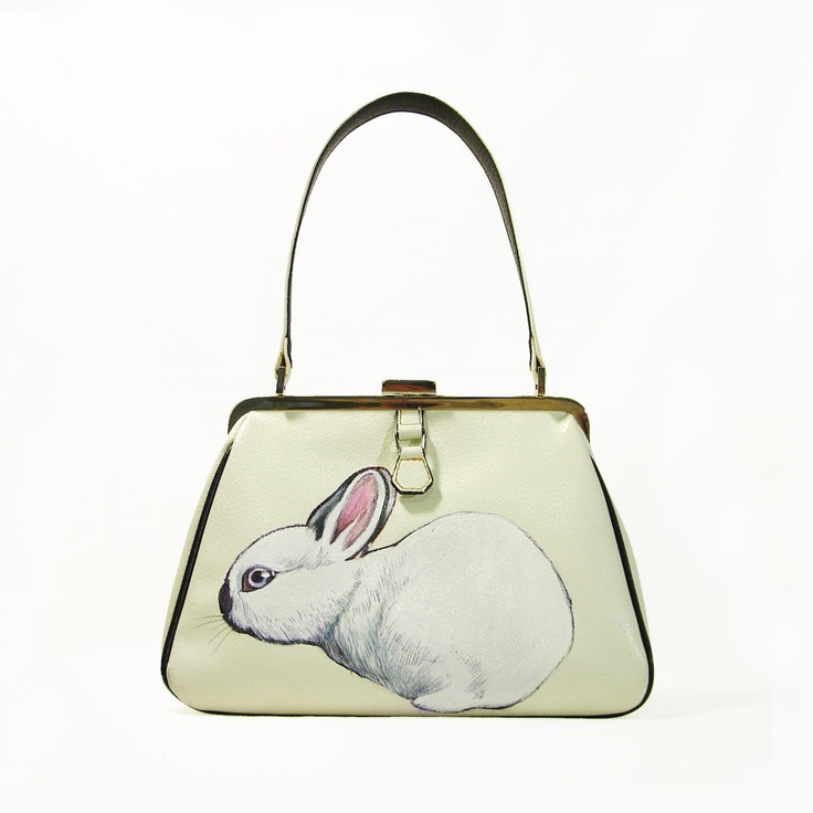 NEW - Dwarf California Rabbit purse - one of a kind, handpainted by NYhop - vintage cream leather handbag with black trims. $180.00, via Etsy.