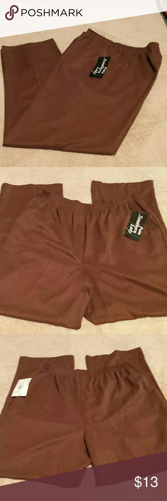 Southern Lady Brown Slacks. NWT. Size 12P Soft 100% polyester slacks by Southern Lady Petite. In new condition. No holes, stains, pills, pulls, or flaws. New with tag. Southern Lady Pants