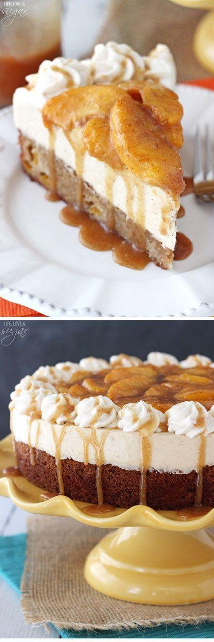 Peach Caramel Blondie Cheesecake - a cinnamon peach blondie, topped with caramel no bake cheesecake, cinnamon peaches, whipped cream and caramel! So good!