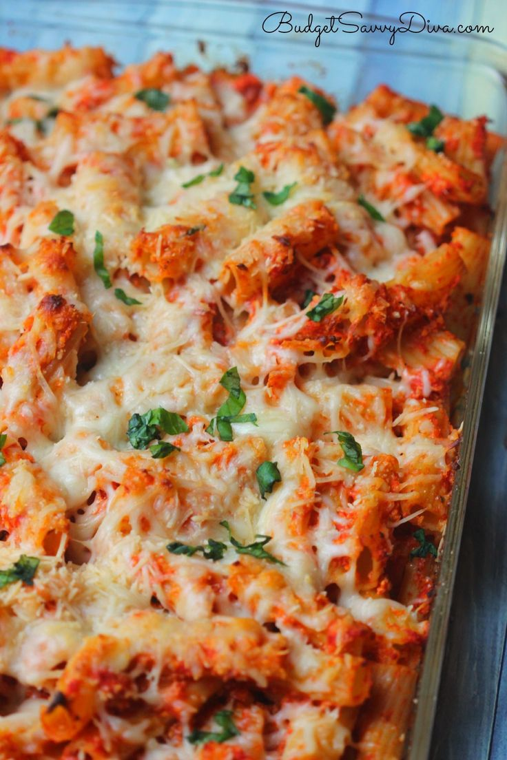 Chicken Parmesan Baked Pasta Recipe/use clean organic sauce, low fat cheese & whole grain noodles