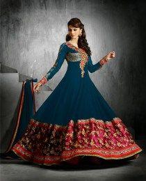 Alluring Navy Blue Color Anarkali Suit
