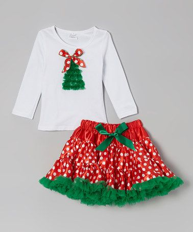 Take a look at this White Christmas Tree Tee & Red Pettiskirt - Infant & Toddler by The Princess Pea on #zulily today!