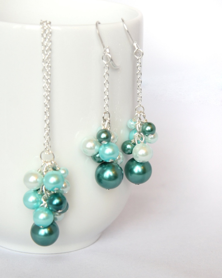 Teal, Turquoise, and Tiffany Blue Pearl Cluster. $20.00, via Etsy.