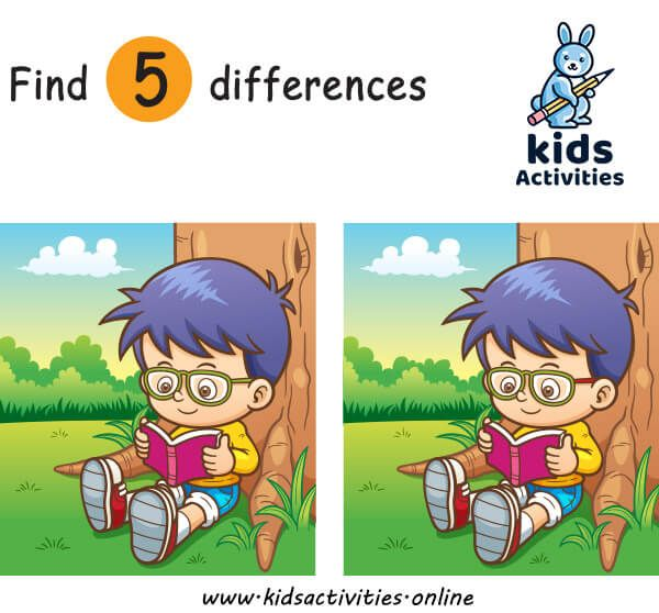 Spot 5 Differences Between Two Pictures Printable Kids Activities In 2020 Spot The Difference Kids Printable Activities For Kids Activities For Kids