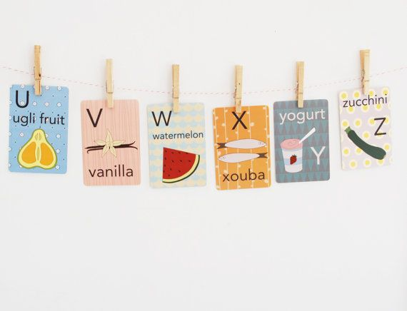 Food Alphabet Card Set Nursery Wall Cards Food by katedurkin