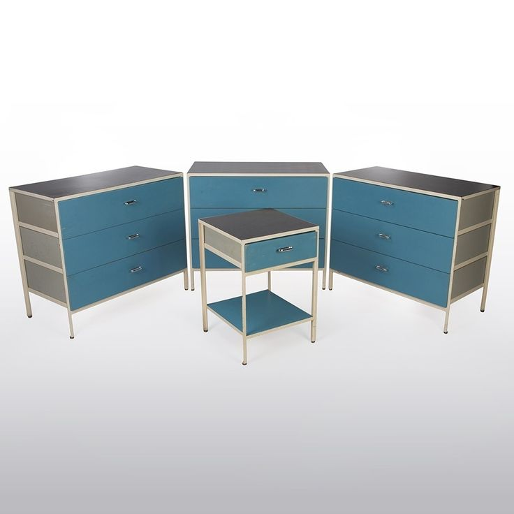Original Herman Miller Blue George Nelson Chest of Drawers With Side Table