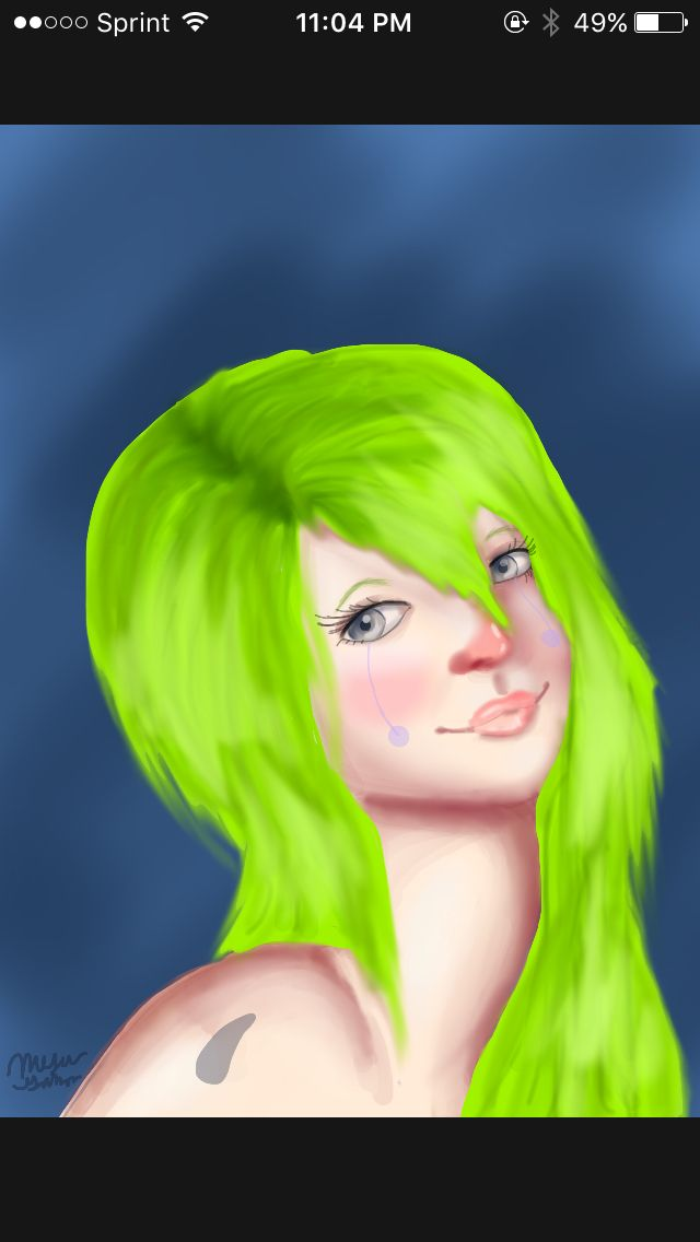 I like to call her the green clown lady. I only really enjoy drawing faces but I do other junk to. This I did over the week end while procrastinating on my speech.