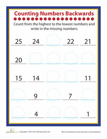 Kindergarten Math Printables 2 Sequencing to 25