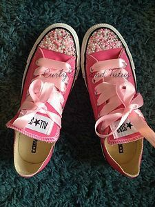 """Adult """" Pearl Bling"""" converse in your choice of color & ribbon shoelace to match. Super cute for bridesmaids, brides, or just because on Etsy, $85.00"""